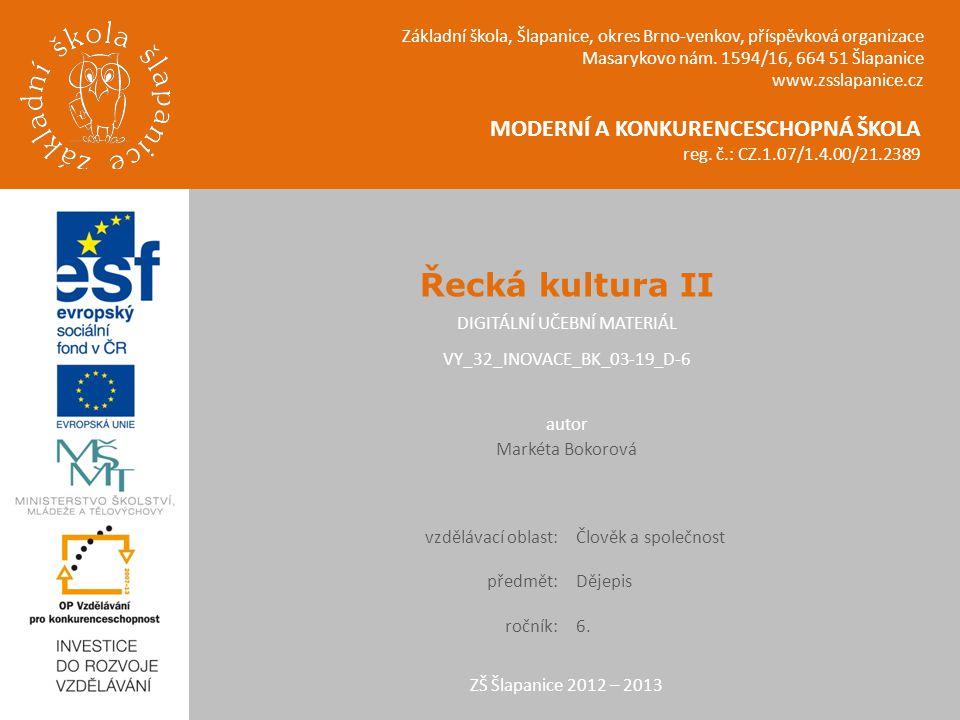 Řecká kultura II Umění a olympijské hry