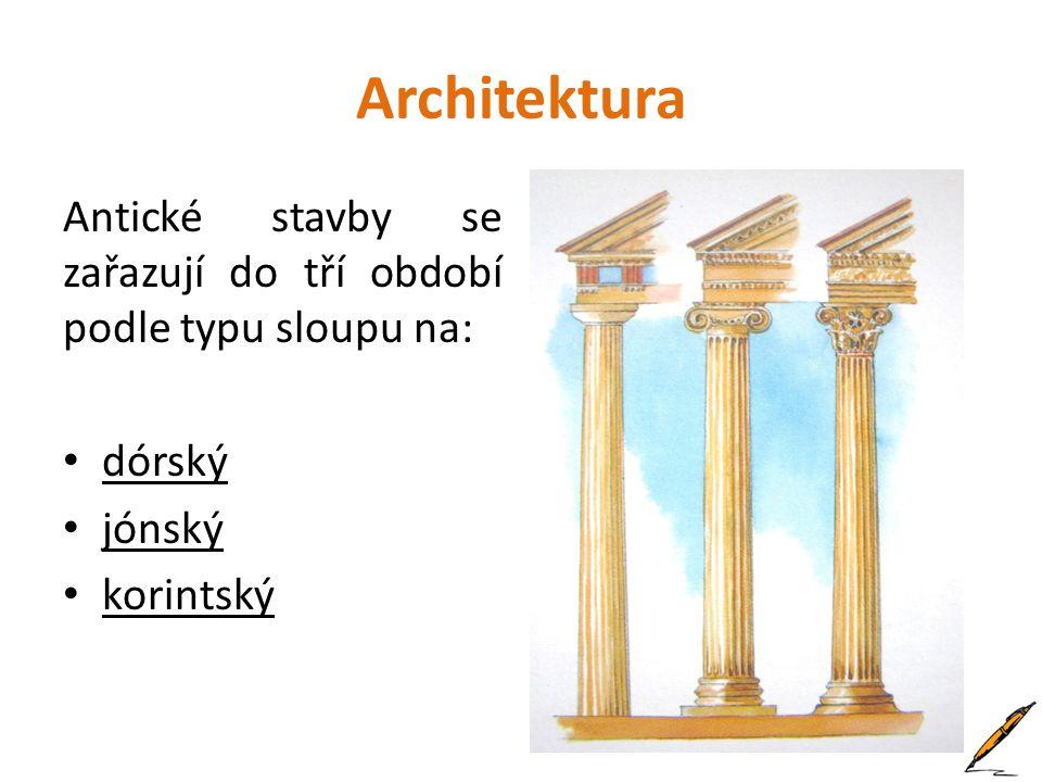 Sochařství Řekové tvořili reliéfy a sochy (jako ozdoby budov i jako samostatně stojící).