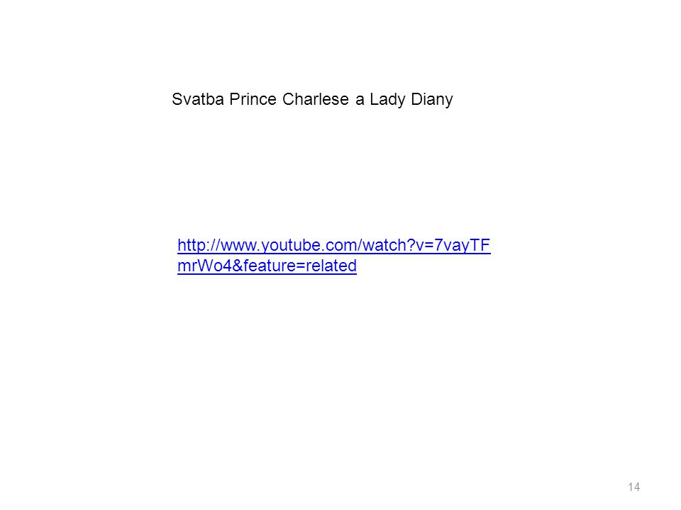 14 http://www.youtube.com/watch?v=7vayTF mrWo4&feature=related Svatba Prince Charlese a Lady Diany
