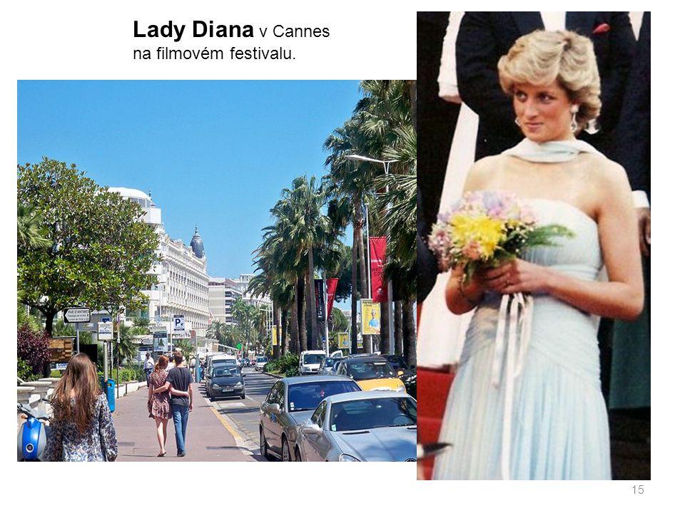15 Lady Diana v Cannes na filmovém festivalu.
