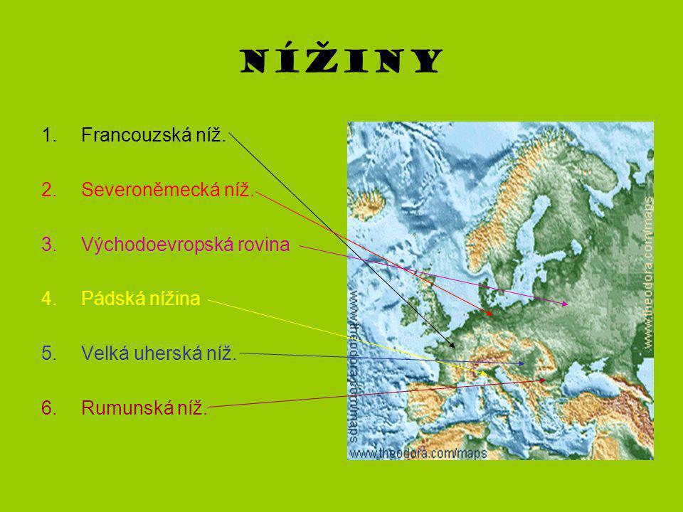 Nížiny 1.Francouzská níž. 2.Severoněmecká níž. 3.Východoevropská rovina 4.Pádská nížina 5.Velká uherská níž. 6.Rumunská níž.