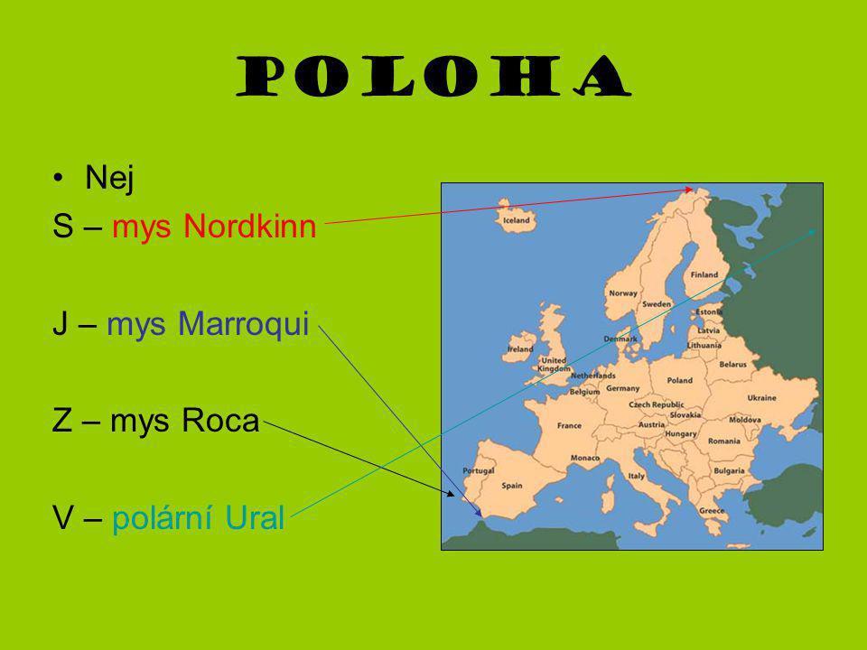 Poloha Nej S – mys Nordkinn J – mys Marroqui Z – mys Roca V – polární Ural