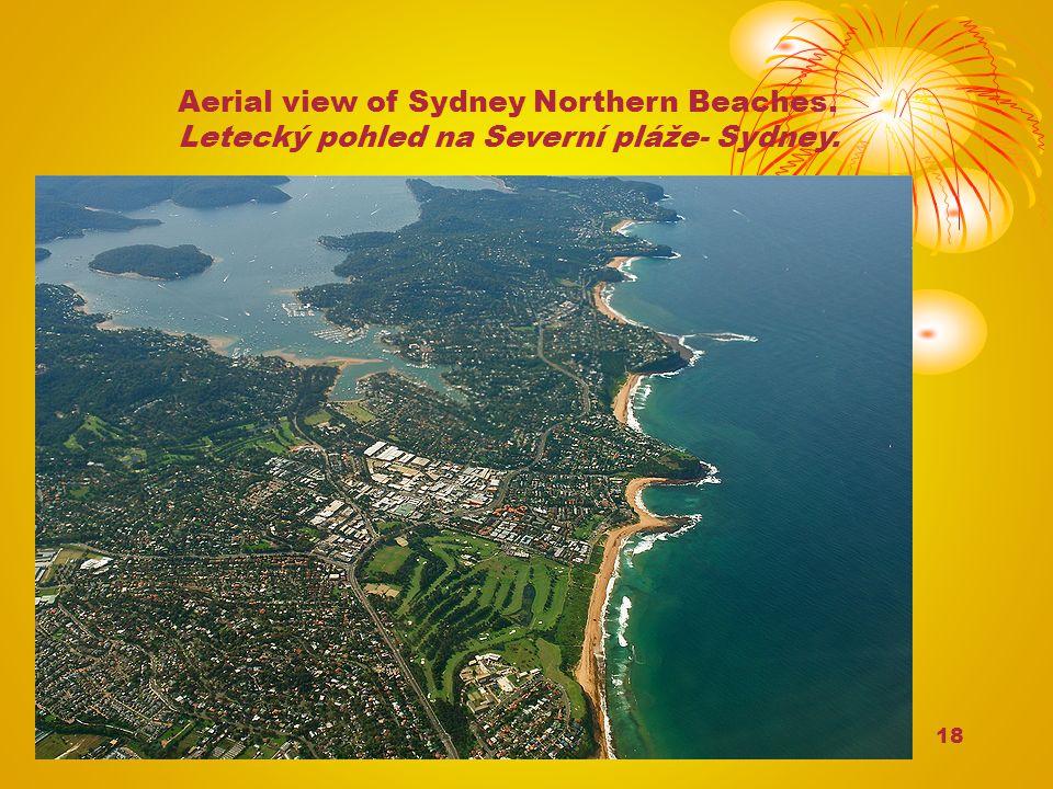 18 Aerial view of Sydney Northern Beaches. Letecký pohled na Severní pláže- Sydney.