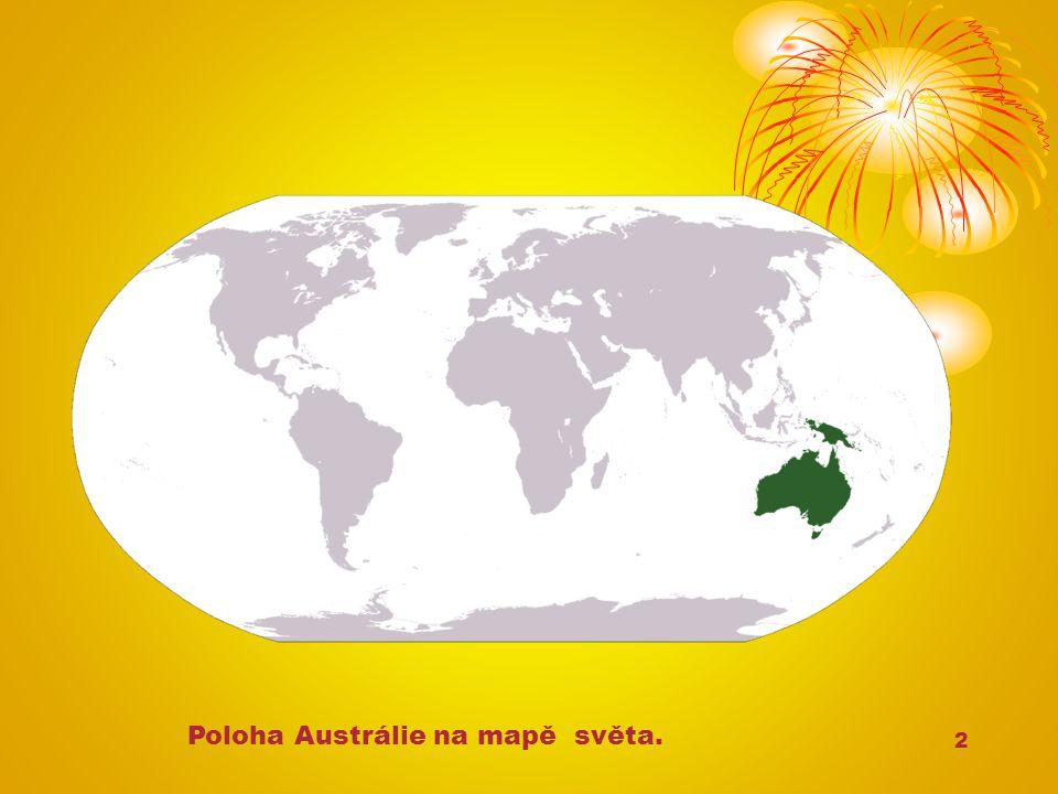 2 Poloha Austrálie na mapě světa.