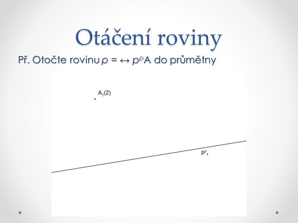 Otáčení roviny Rovina ρ otočená do průmětny je ↔ p ρ A 0