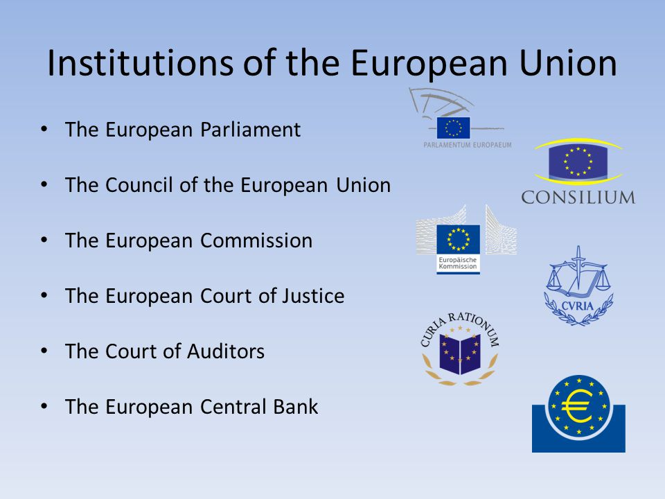 Institutions of the European Union The European Parliament The Council of the European Union The European Commission The European Court of Justice The