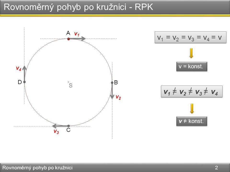 + Rychlost RPK Rovnoměrný pohyb po kružnici 3 B S A s v = stst v = 2rT2rT T – perioda nejkratší doba, za kterou se hmotný bod vrátí do své původní polohy.