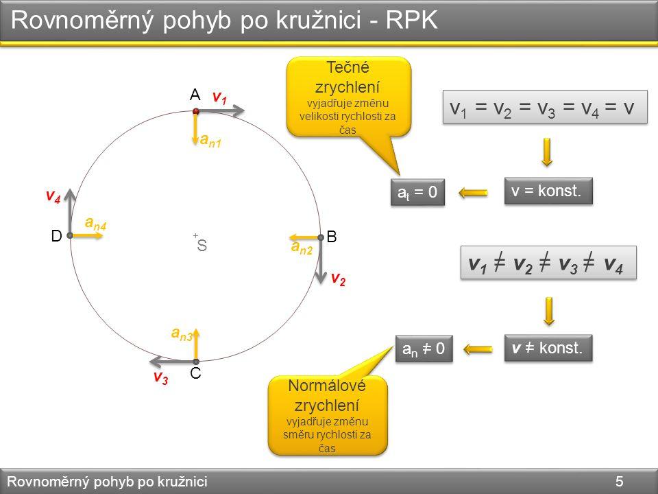 + Rovnoměrný pohyb po kružnici - RPK Rovnoměrný pohyb po kružnici 5 v = konst.