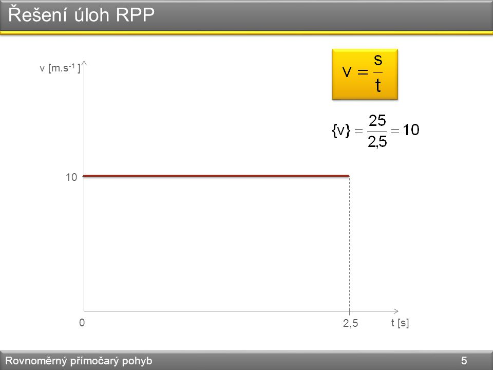 Řešení úloh RPP Rovnoměrný přímočarý pohyb 6 3.