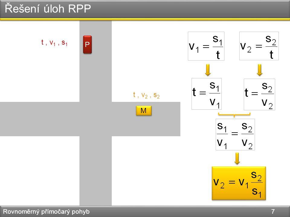 Řešení úloh RPP Rovnoměrný přímočarý pohyb 8 4.Podle grafu rychlosti sestroj graf dráhy.