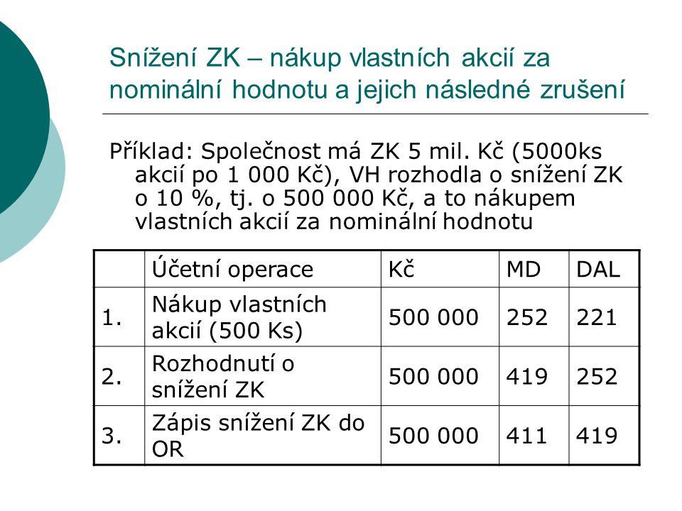Snížení ZK – nákup vlastních akcií za nominální hodnotu a jejich následné zrušení Příklad: Společnost má ZK 5 mil. Kč (5000ks akcií po 1 000 Kč), VH r
