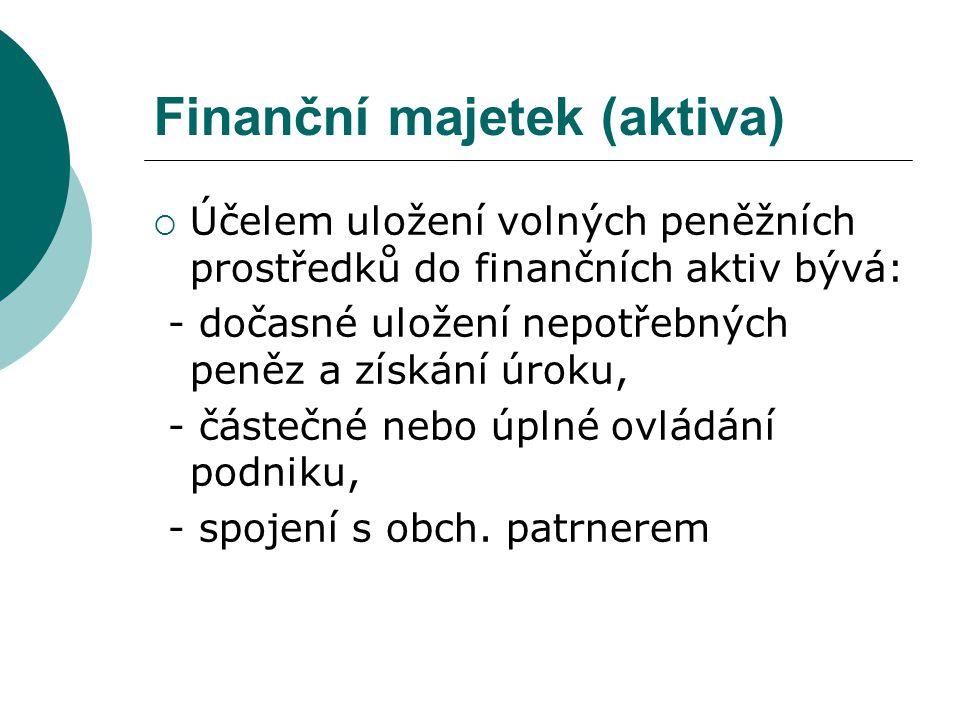 Finanční majetek (aktiva)  Účelem uložení volných peněžních prostředků do finančních aktiv bývá: - dočasné uložení nepotřebných peněz a získání úroku