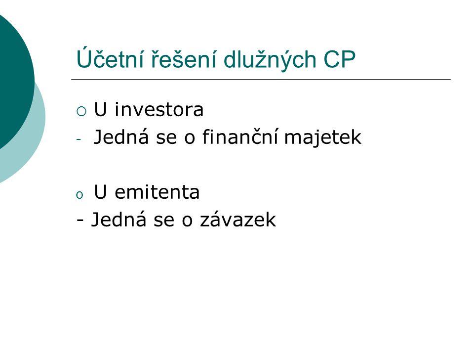 Účetní řešení dlužných CP  U investora - Jedná se o finanční majetek o U emitenta - Jedná se o závazek