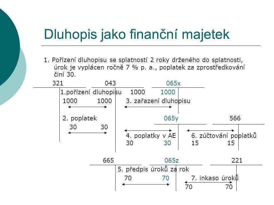 Dluhopis jako finanční majetek 1. Pořízení dluhopisu se splatností 2 roky drženého do splatnosti, úrok je vyplácen ročně 7 % p. a., poplatek za zprost
