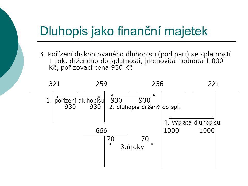 Dluhopis jako finanční majetek 3. Pořízení diskontovaného dluhopisu (pod pari) se splatností 1 rok, drženého do splatnosti, jmenovitá hodnota 1 000 Kč