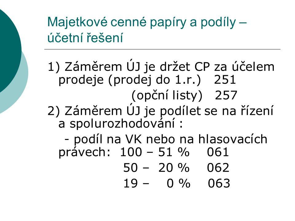 Majetkové cenné papíry a podíly – účetní řešení 1) Záměrem ÚJ je držet CP za účelem prodeje (prodej do 1.r.) 251 (opční listy) 257 2) Záměrem ÚJ je po