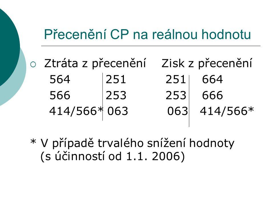 Přecenění CP na reálnou hodnotu  Ztráta z přecenění Zisk z přecenění 564 251 251 664 566 253 253 666 414/566* 063 063 414/566* * V případě trvalého s