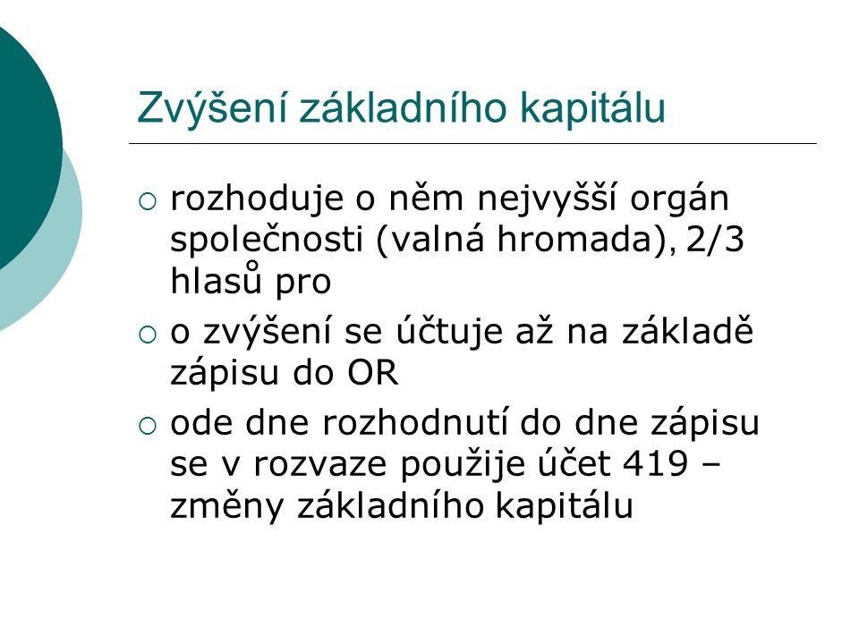 Snížení ZK – postup u akcionáře 1.Akcionáři účtují vykoupené akcie jako prodej 2.