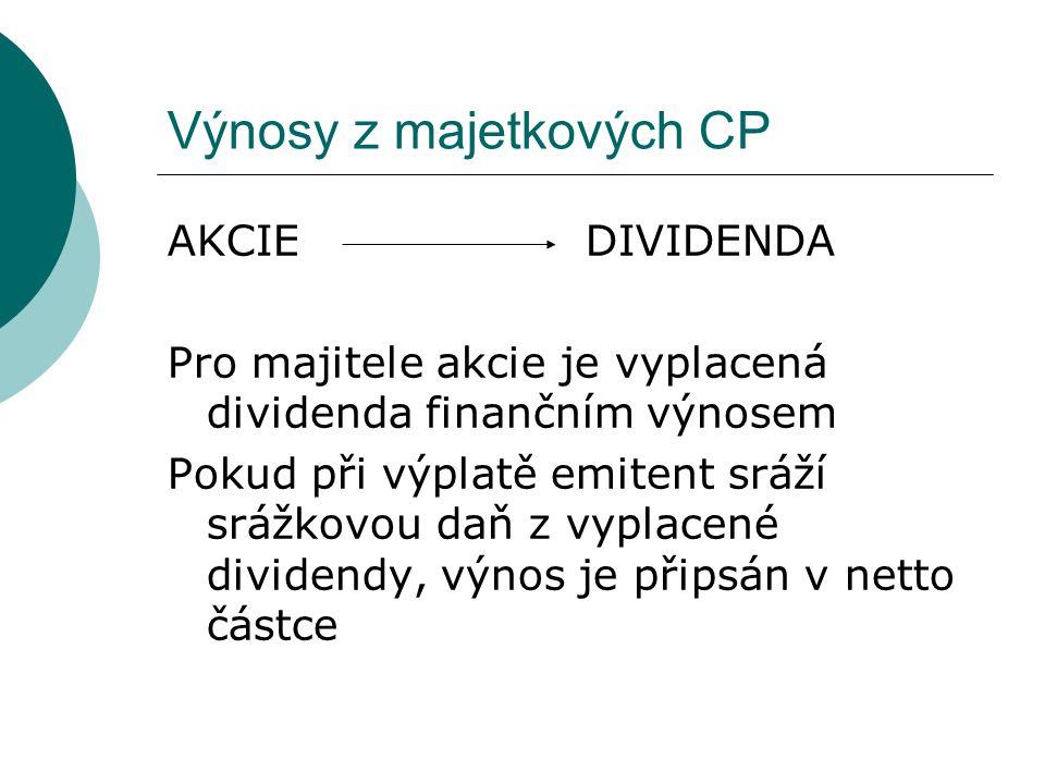 Výnosy z majetkových CP AKCIE DIVIDENDA Pro majitele akcie je vyplacená dividenda finančním výnosem Pokud při výplatě emitent sráží srážkovou daň z vy