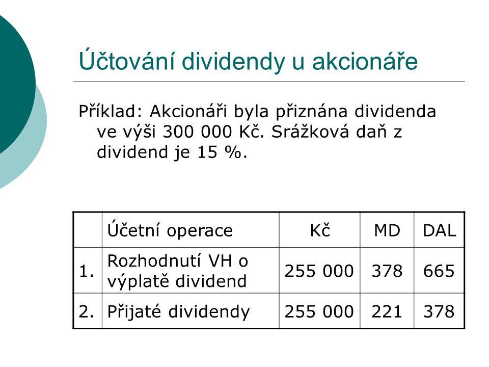 Účtování dividendy u akcionáře Příklad: Akcionáři byla přiznána dividenda ve výši 300 000 Kč. Srážková daň z dividend je 15 %. Účetní operaceKčMDDAL 1