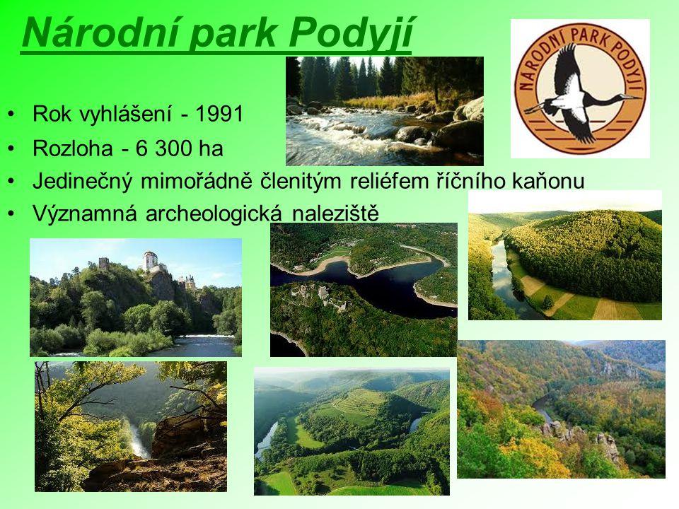 Národní park Podyjí Rok vyhlášení - 1991 Rozloha - 6 300 ha Jedinečný mimořádně členitým reliéfem říčního kaňonu Významná archeologická naleziště