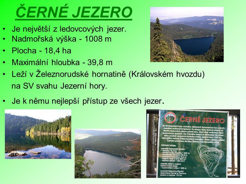 ČERNÉ JEZERO Je největší z ledovcových jezer. Nadmořská výška - 1008 m Plocha - 18,4 ha Maximální hloubka - 39,8 m Leží v Železnorudské hornatině (Krá