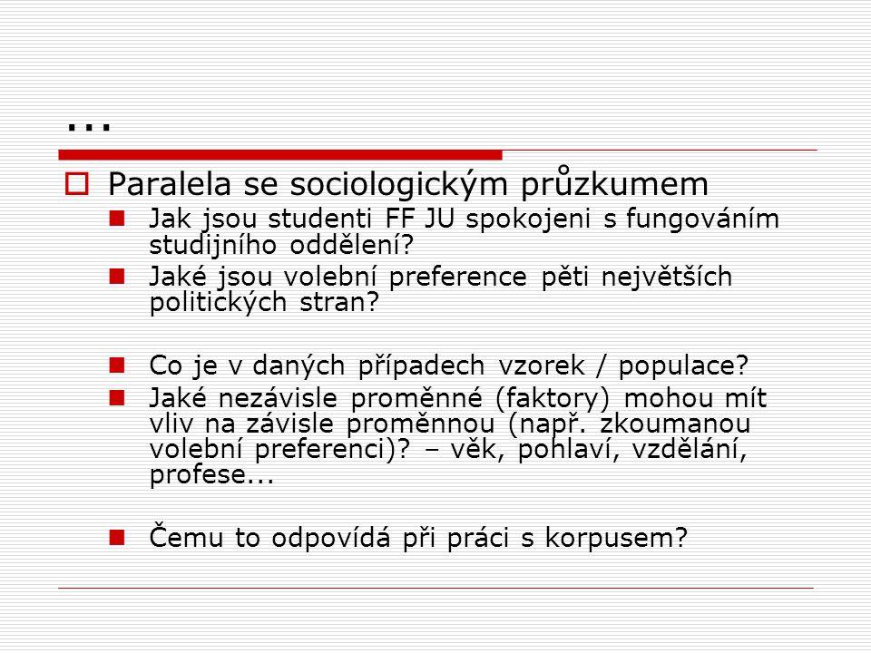 ...  Paralela se sociologickým průzkumem Jak jsou studenti FF JU spokojeni s fungováním studijního oddělení? Jaké jsou volební preference pěti největ