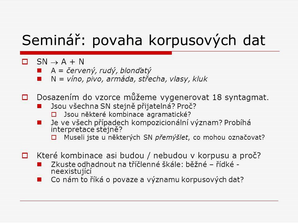 Seminář: povaha korpusových dat  SN  A + N A = červený, rudý, blonďatý N = víno, pivo, armáda, střecha, vlasy, kluk  Dosazením do vzorce můžeme vyg