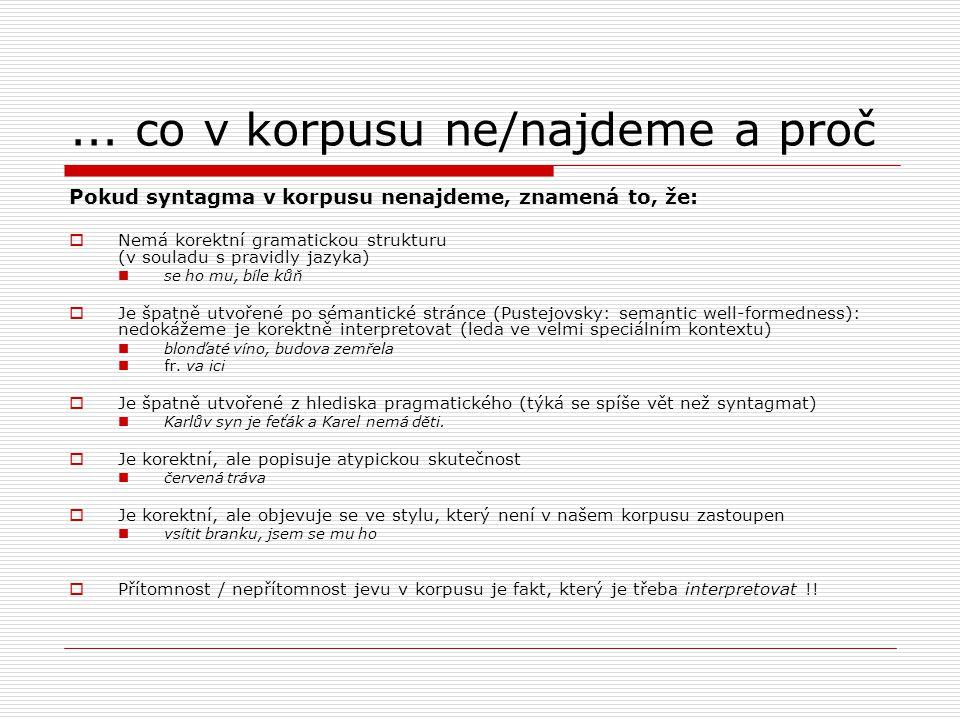 ... co v korpusu ne/najdeme a proč Pokud syntagma v korpusu nenajdeme, znamená to, že:  Nemá korektní gramatickou strukturu (v souladu s pravidly jaz