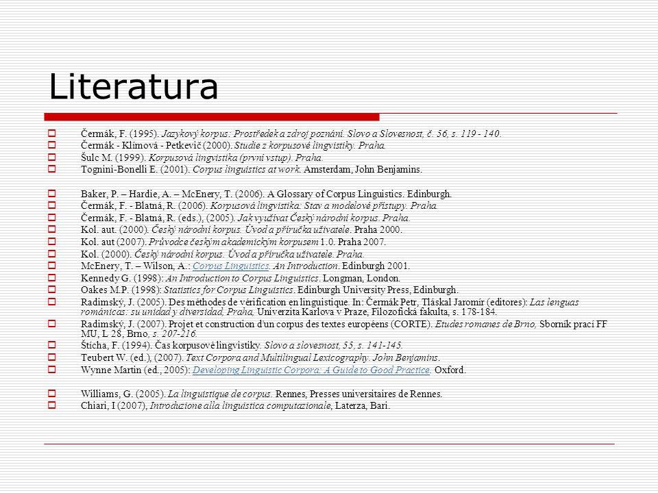 Literatura  Čermák, F. (1995). Jazykový korpus: Prostředek a zdroj poznání. Slovo a Slovesnost, č. 56, s. 119 - 140.  Čermák - Klímová - Petkevič (2