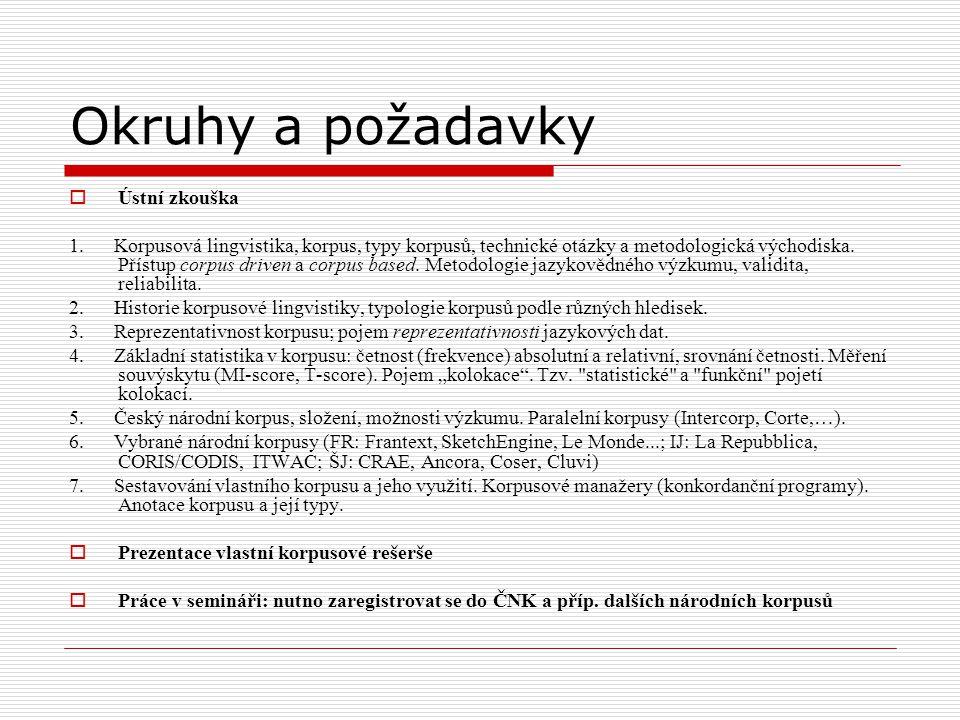 Okruhy a požadavky  Ústní zkouška 1. Korpusová lingvistika, korpus, typy korpusů, technické otázky a metodologická východiska. Přístup corpus driven