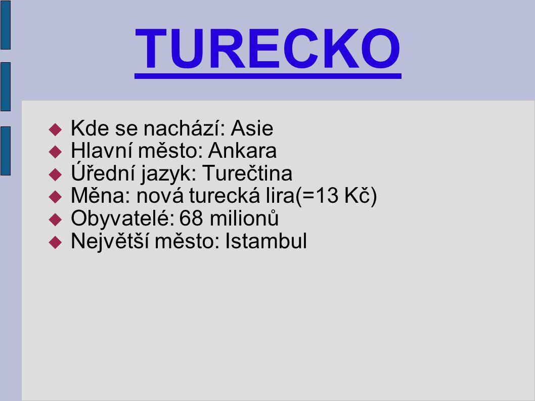 TURECKO  Kde se nachází: Asie  Hlavní město: Ankara  Úřední jazyk: Turečtina  Měna: nová turecká lira(=13 Kč)  Obyvatelé: 68 milionů  Největší m