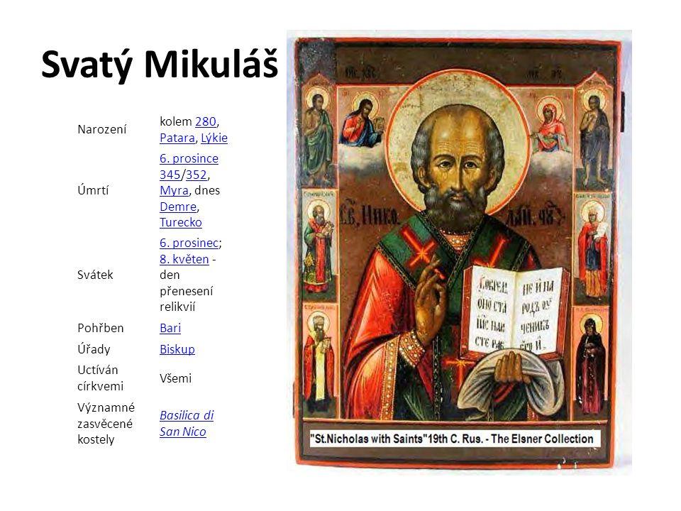 Svatý Mikuláš Narození kolem 280, Patara, Lýkie280 PataraLýkie Úmrtí 6. prosince 3456. prosince 345/352, Myra, dnes Demre, Turecko352 Myra Demre Turec
