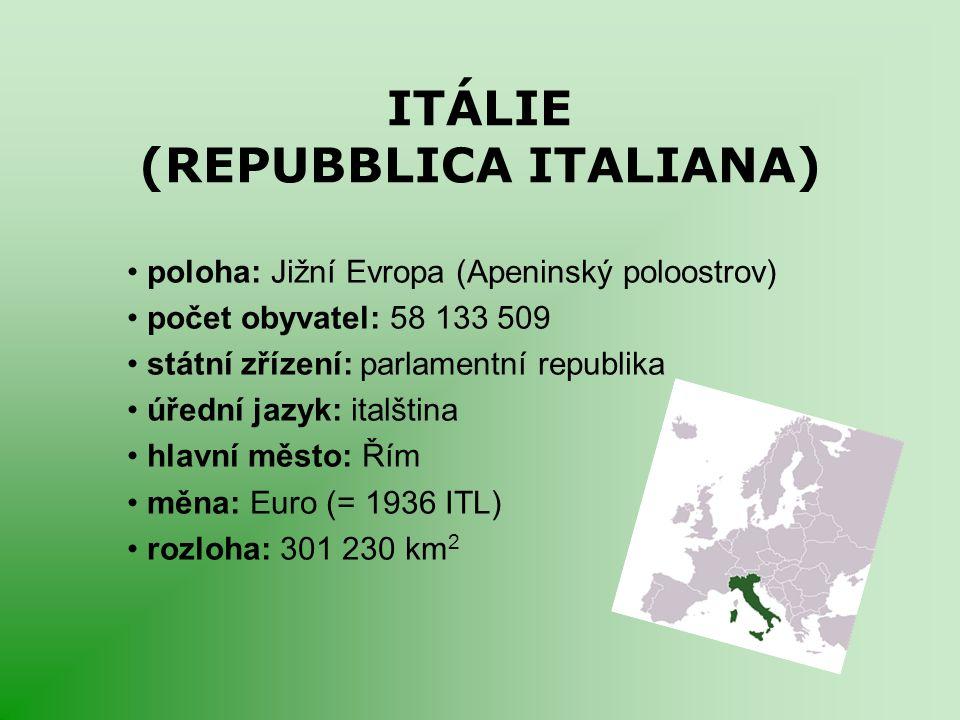 ITÁLIE (REPUBBLICA ITALIANA) poloha: Jižní Evropa (Apeninský poloostrov) počet obyvatel: 58 133 509 státní zřízení: parlamentní republika úřední jazyk