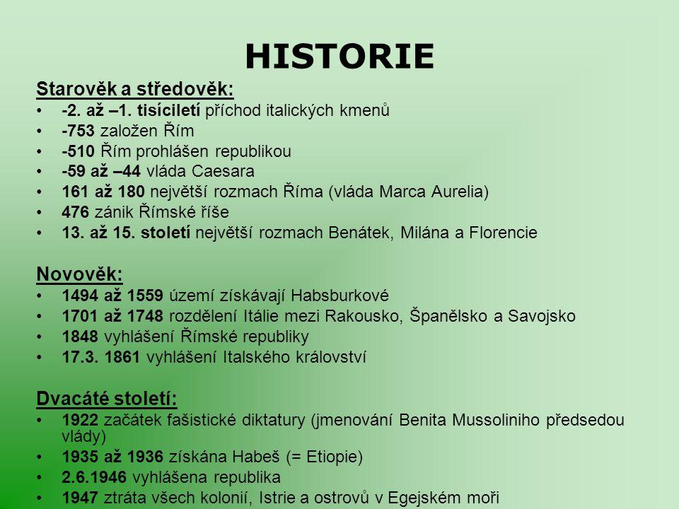 HISTORIE Starověk a středověk: -2. až –1. tisíciletí příchod italických kmenů -753 založen Řím -510 Řím prohlášen republikou -59 až –44 vláda Caesara