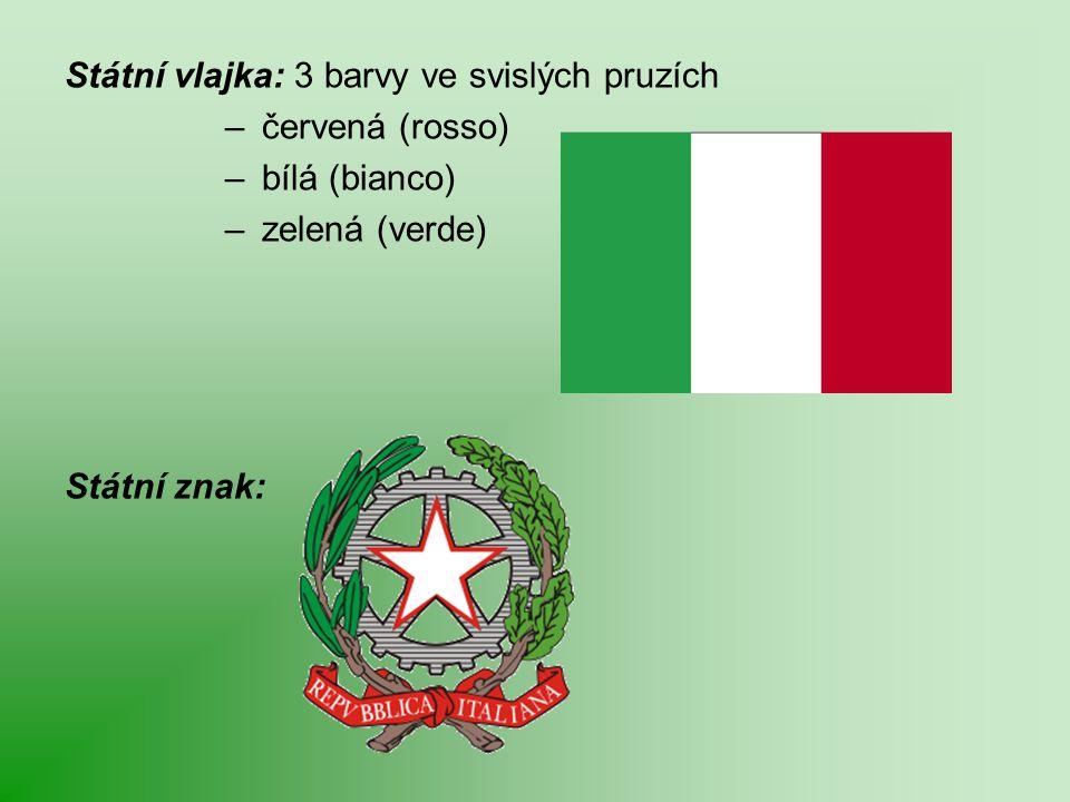 Státní vlajka: 3 barvy ve svislých pruzích – červená (rosso) – bílá (bianco) – zelená (verde) Státní znak: