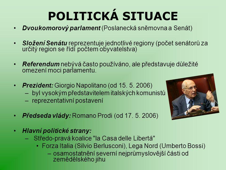 POLITICKÁ SITUACE Dvoukomorový parlament (Poslanecká sněmovna a Senát) Složení Senátu reprezentuje jednotlivé regiony (počet senátorů za určitý region