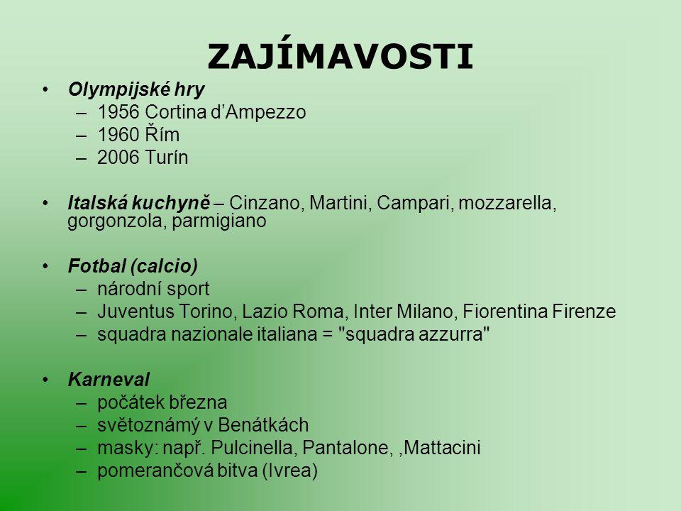 ZAJÍMAVOSTI Olympijské hry –1956 Cortina d'Ampezzo –1960 Řím –2006 Turín Italská kuchyně – Cinzano, Martini, Campari, mozzarella, gorgonzola, parmigia
