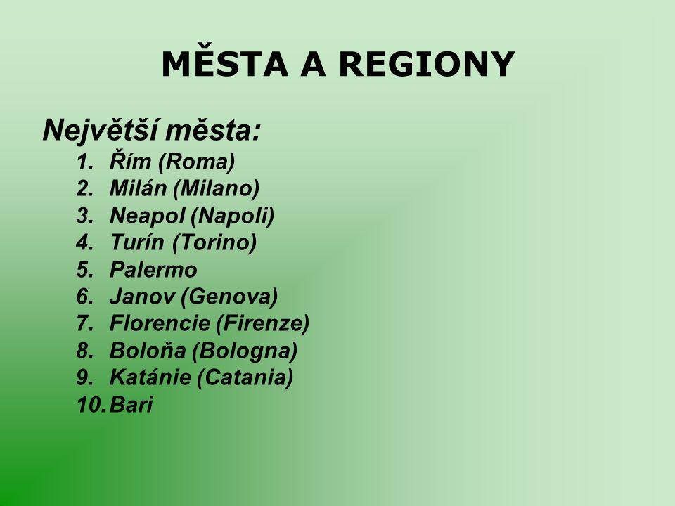 MĚSTA A REGIONY Největší města: 1.Řím (Roma) 2.Milán (Milano) 3.Neapol (Napoli) 4.Turín (Torino) 5.Palermo 6.Janov (Genova) 7.Florencie (Firenze) 8.Bo