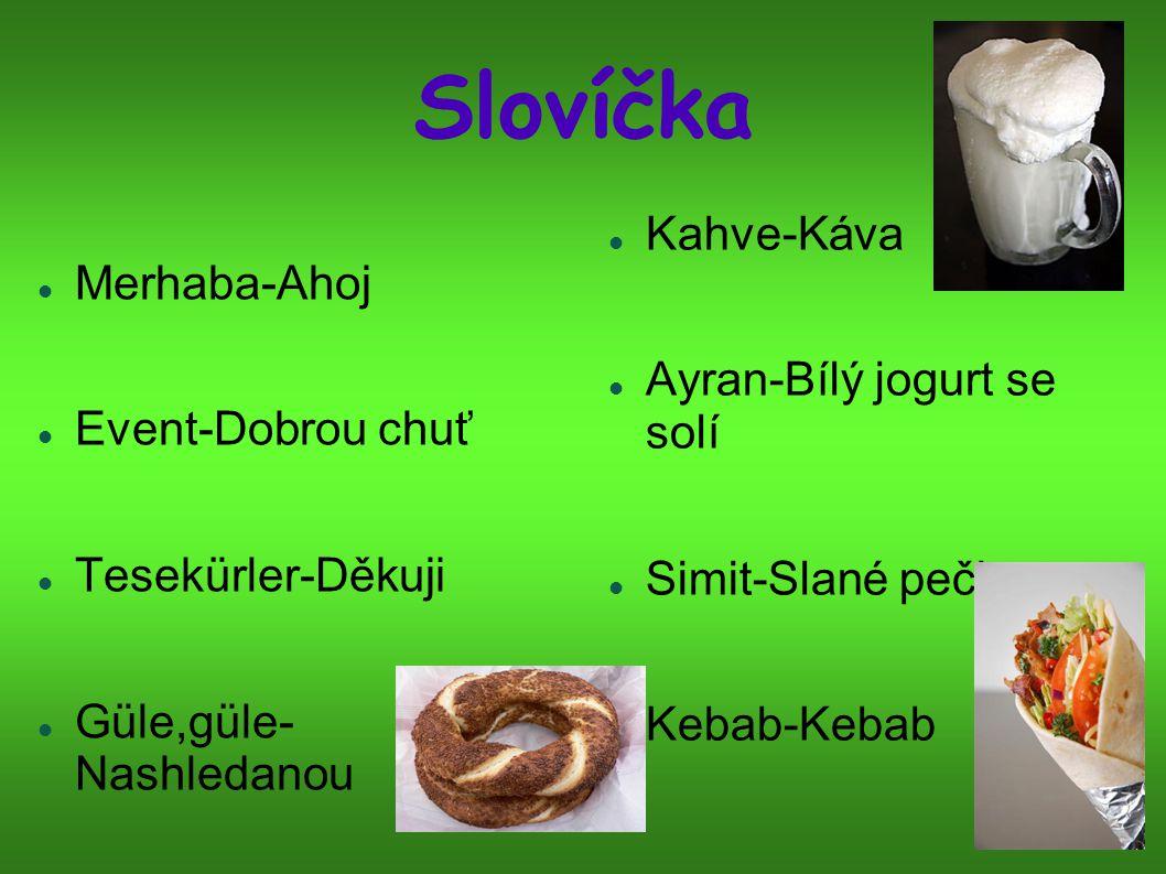 Slovíčka Merhaba-Ahoj Event-Dobrou chuť Tesekürler-Děkuji Güle,güle- Nashledanou Kahve-Káva Ayran-Bílý jogurt se solí Simit-Slané pečivo Kebab-Kebab