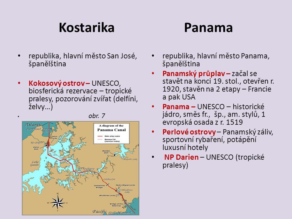 Kostarika Panama republika, hlavní město San José, španělština Kokosový ostrov – UNESCO, biosferická rezervace – tropické pralesy, pozorování zvířat (