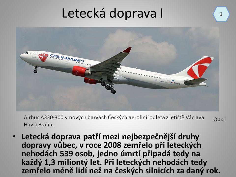 Letecká doprava I Letecká doprava patří mezi nejbezpečnější druhy dopravy vůbec, v roce 2008 zemřelo při leteckých nehodách 539 osob, jedno úmrtí přip