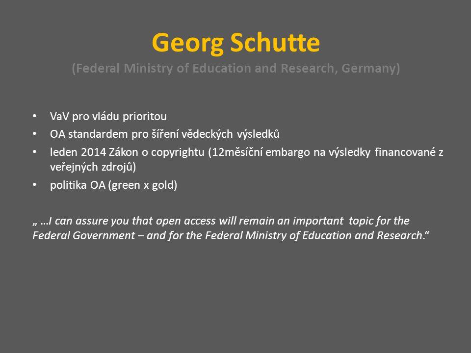 Roger Genet (Directorate General for Research and Innovations, France) pragmatický přístup: vědci sami definují režim přístupu (gold x green) embargo 6-12 měsíců jaro 2014: konečné rozhodnutí