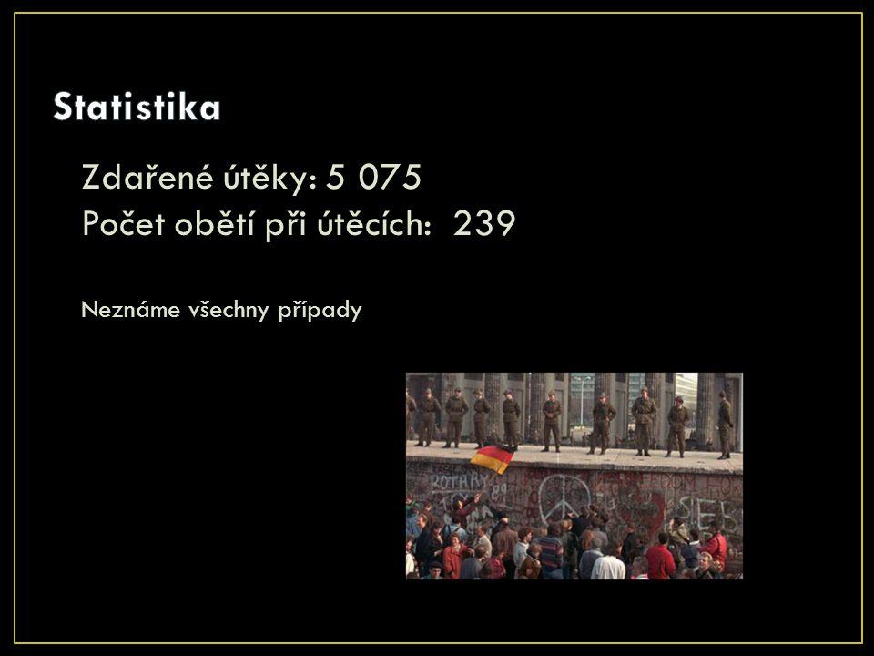 Zdařené útěky: 5 075 Počet obětí při útěcích: 239 Neznáme všechny případy