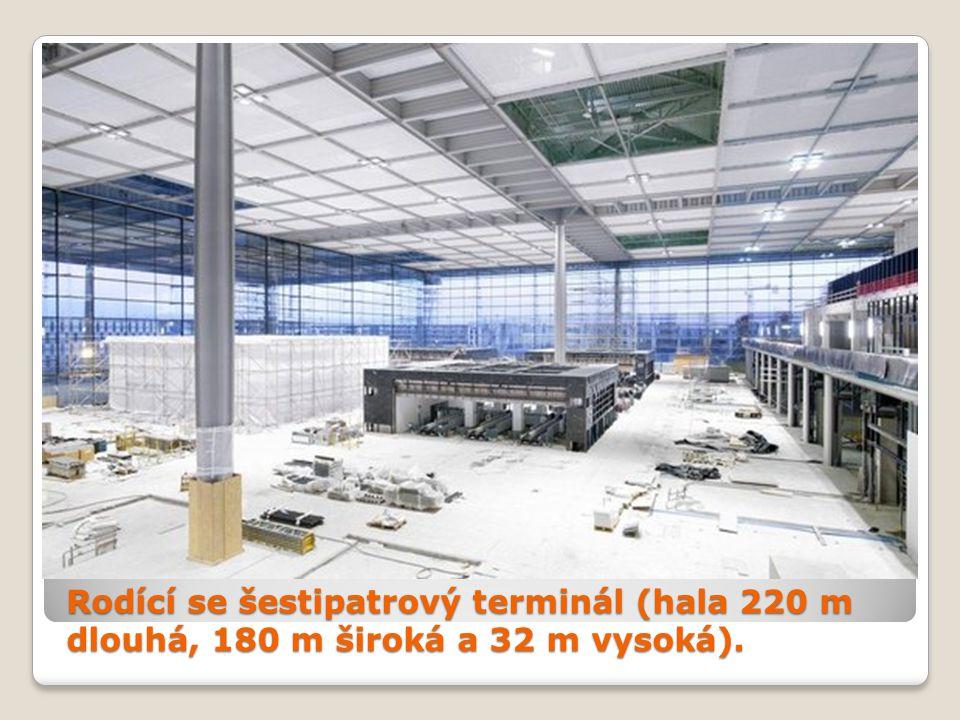 Rodící se šestipatrový terminál (hala 220 m dlouhá, 180 m široká a 32 m vysoká).