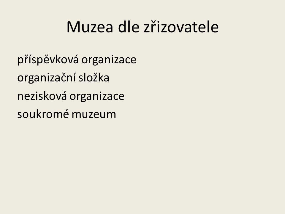 Muzea dle zřizovatele příspěvková organizace organizační složka nezisková organizace soukromé muzeum