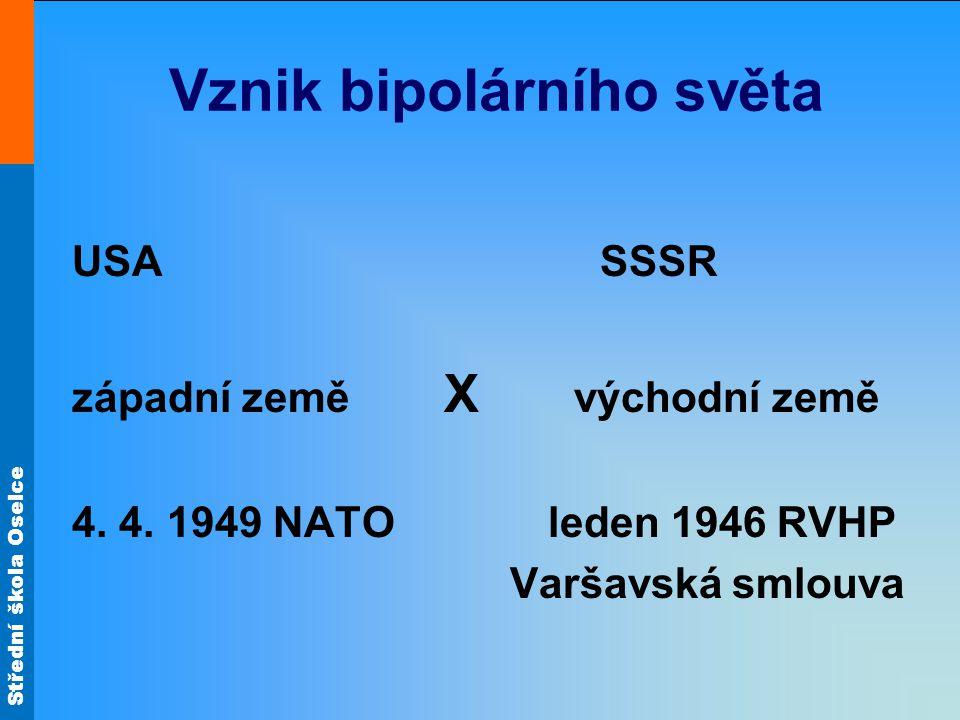 Střední škola Oselce Vznik bipolárního světa USA SSSR západní země X východní země 4. 4. 1949 NATO leden 1946 RVHP Varšavská smlouva
