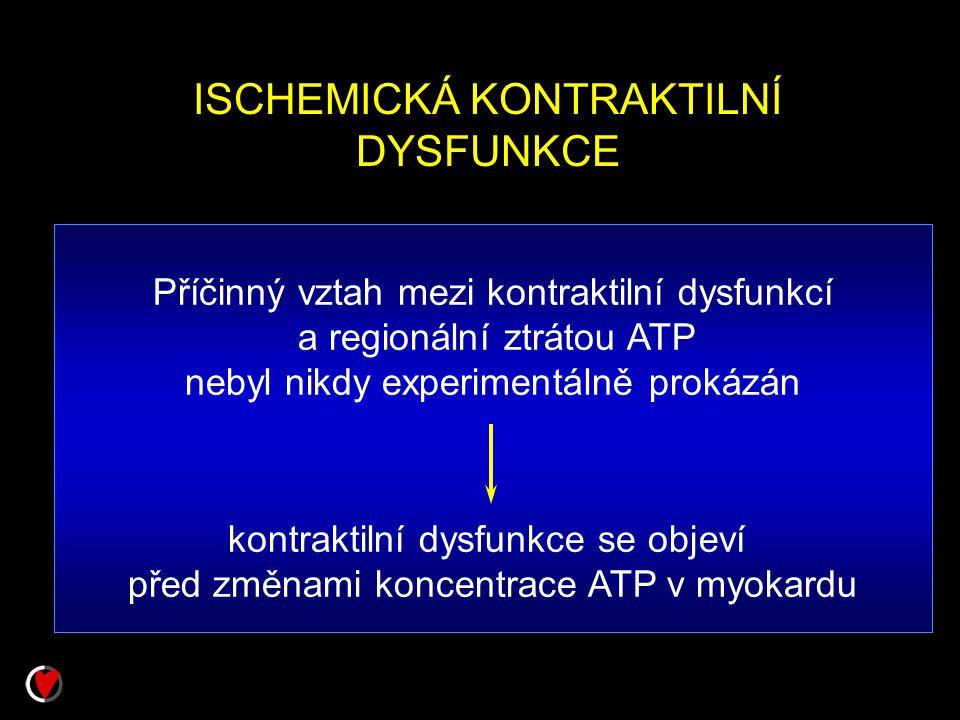 ISCHEMICKÁ KONTRAKTILNÍ DYSFUNKCE Příčinný vztah mezi kontraktilní dysfunkcí a regionální ztrátou ATP nebyl nikdy experimentálně prokázán kontraktilní