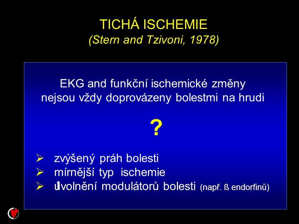 TICHÁ ISCHEMIE (Stern and Tzivoni, 1978)  zvýšený práh bolesti  mírnější typ ischemie  uvolnění modulátorů bolesti (např. ß endorfinů) ? EKG and fu
