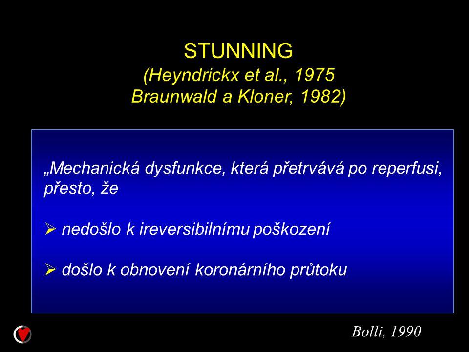 """STUNNING (Heyndrickx et al., 1975 Braunwald a Kloner, 1982) """"Mechanická dysfunkce, která přetrvává po reperfusi, přesto, že  nedošlo k ireversibilním"""